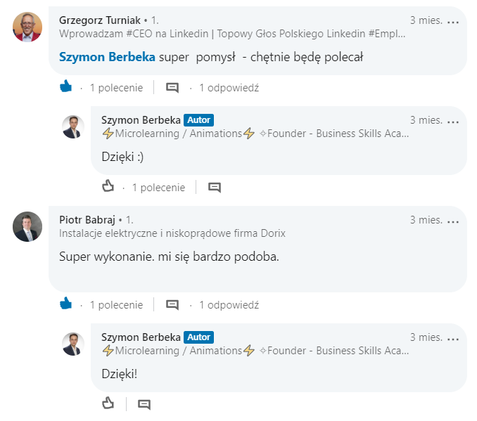 Komentarz LinkedIn 2